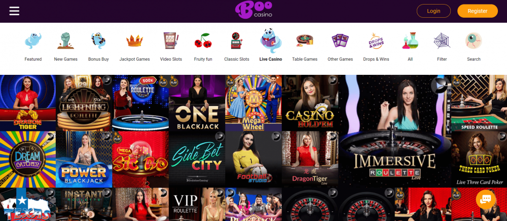 Boo live casino
