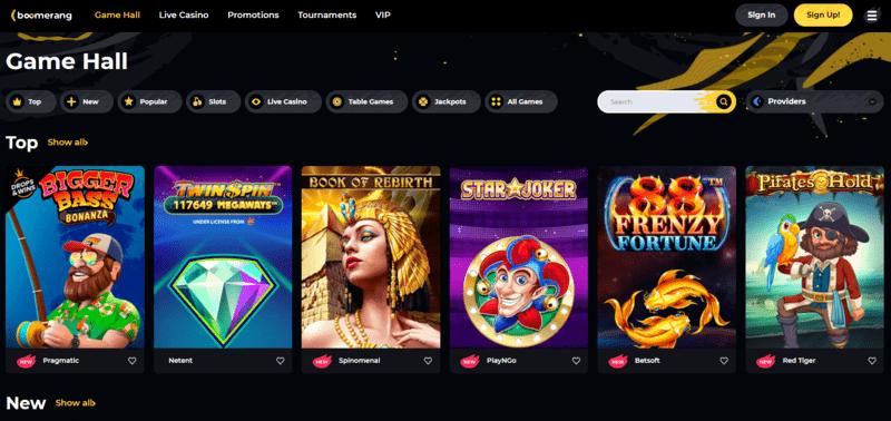 Boomerang casino lobby