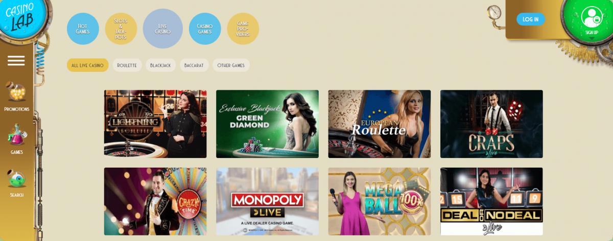 Casino Lab lobby Libve