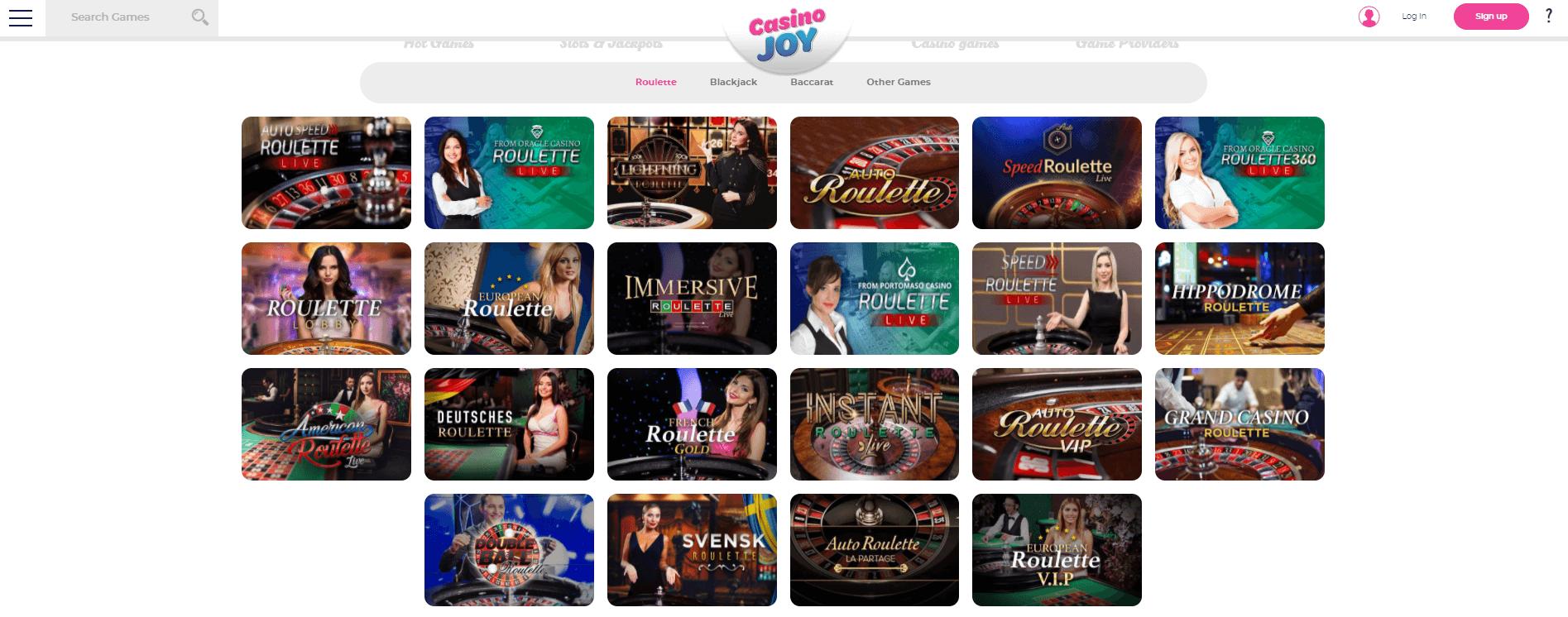 Casino Joy Live lobby