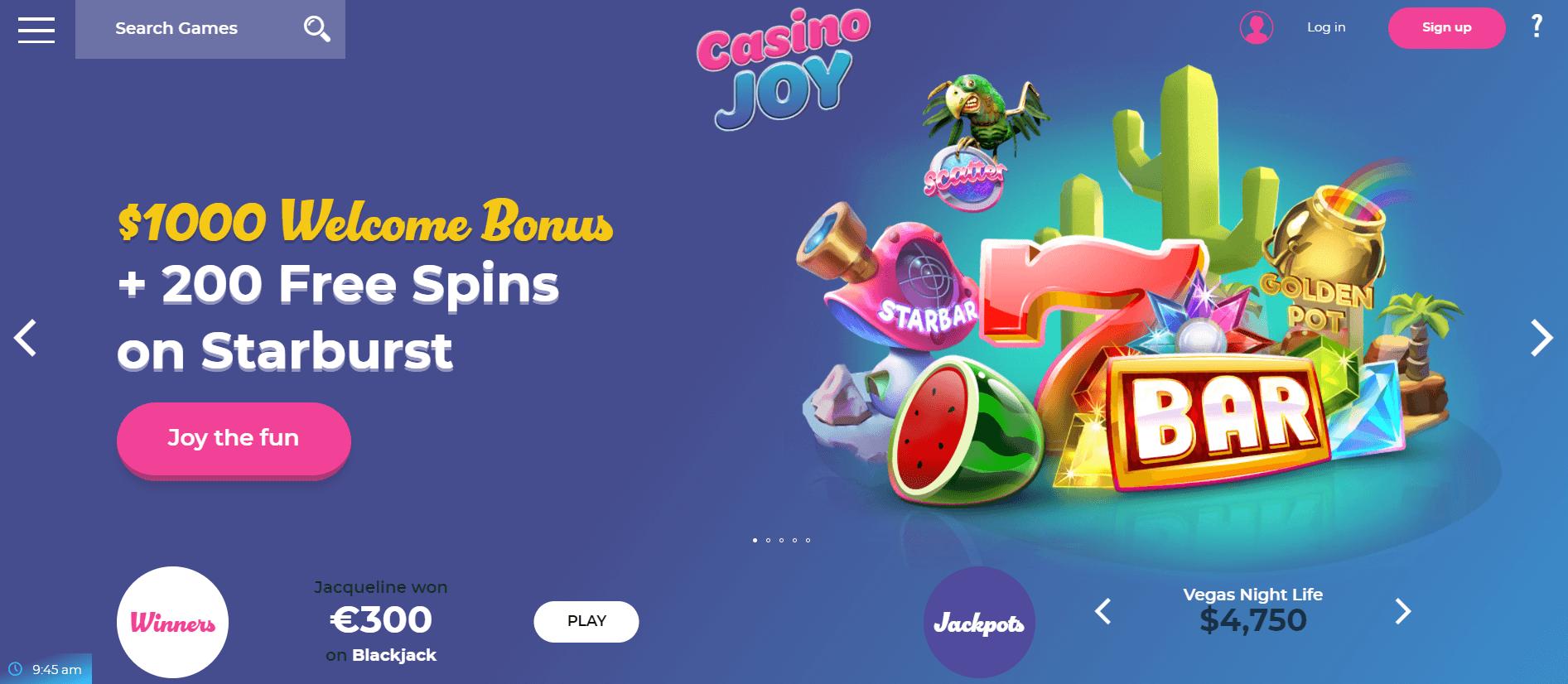 Casino Joy welcome package