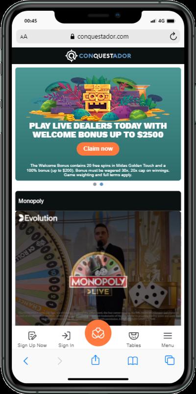 Conquestador mobile casino