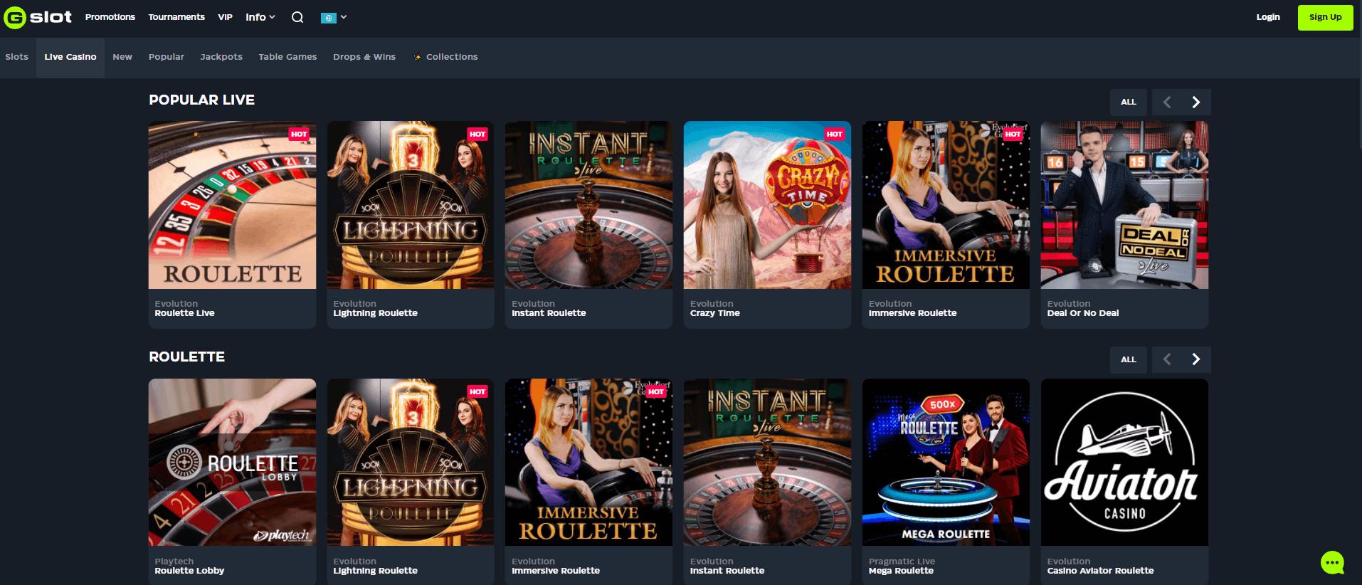 GSlot Live casino lobby