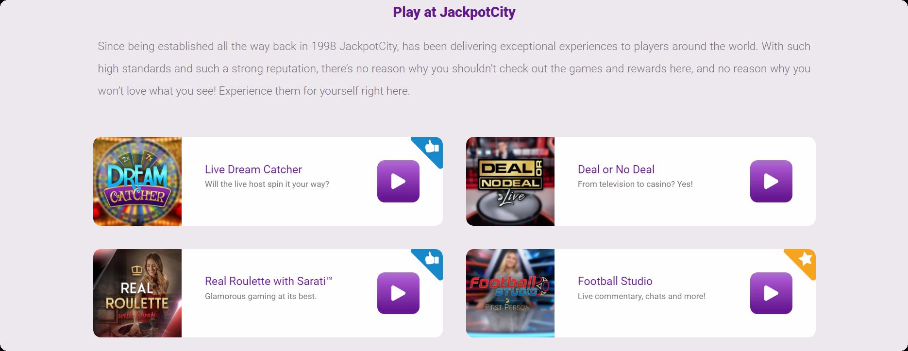Jackpot City Live Casino games