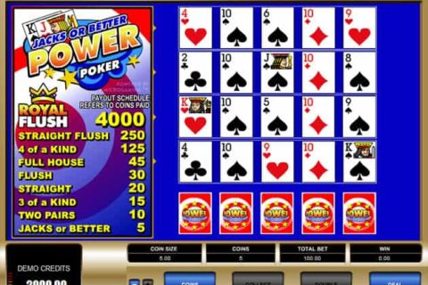 Play Jacks or Better Video Poker slot