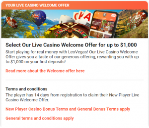 LeoVegas Live casino welcome offer