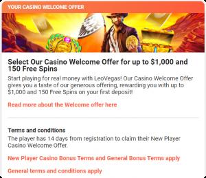 Welcome bonus Leovegas
