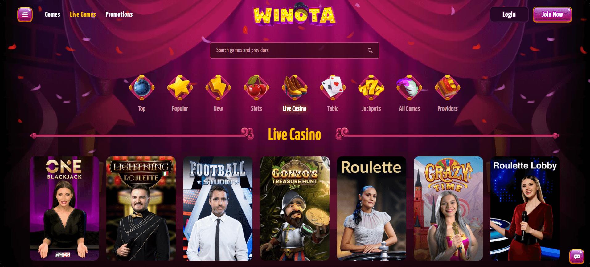 Live Casino Winota