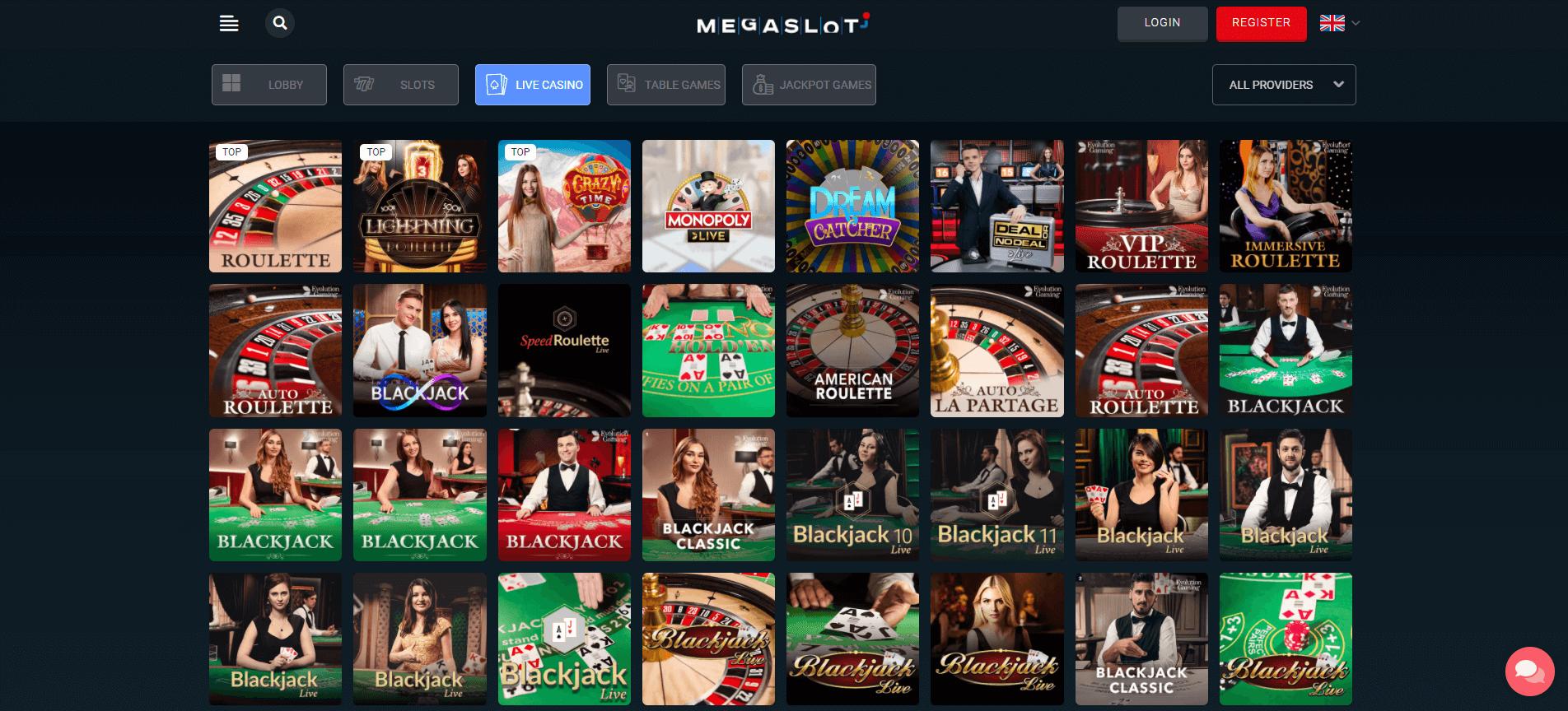 Live casino Megaslot