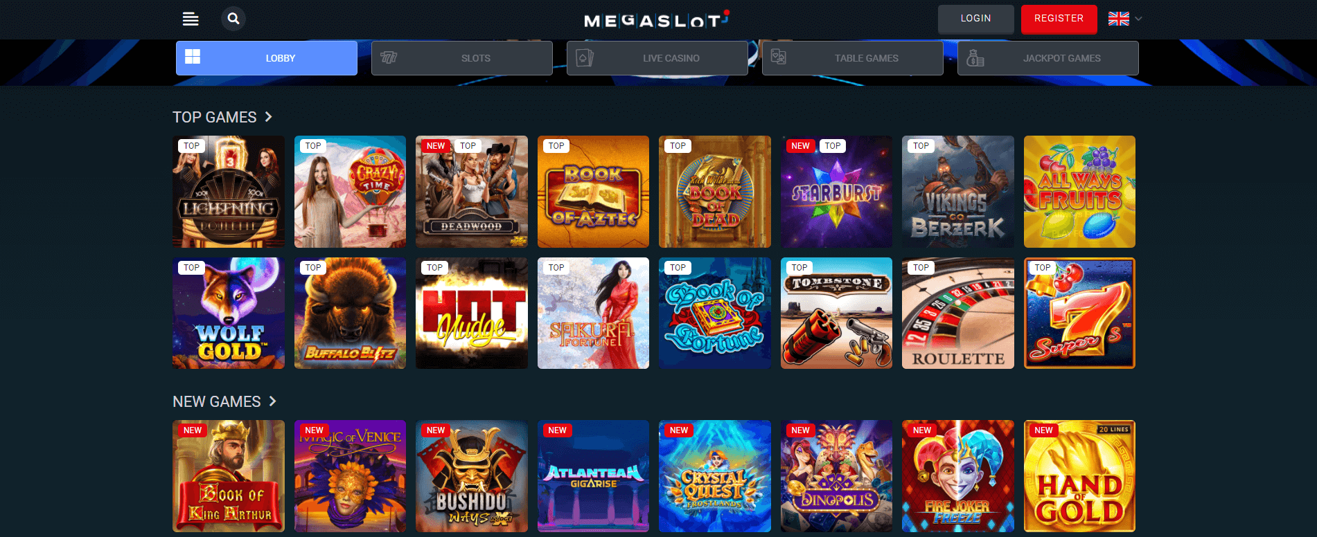 Megaslots lobby