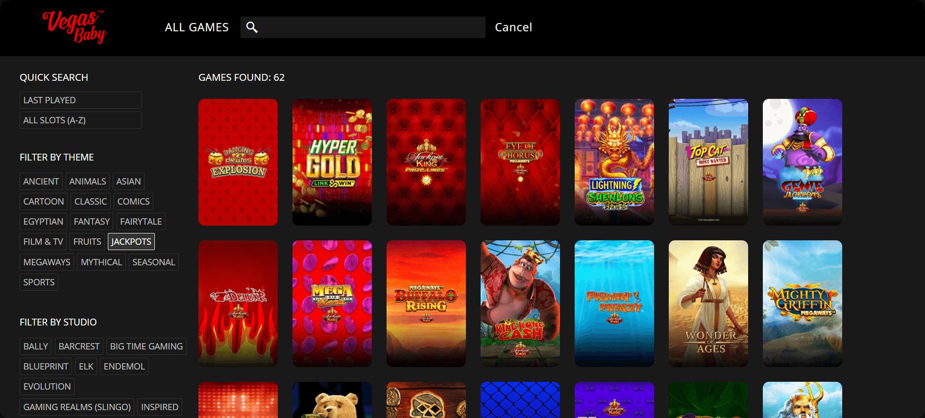 VegasBaby lobby filters