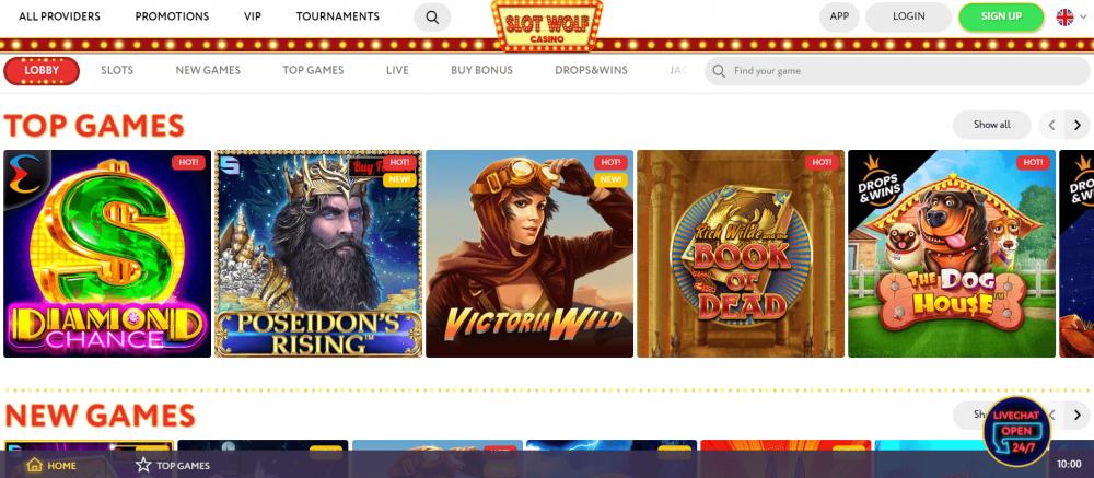 SlotWolf casino lobby