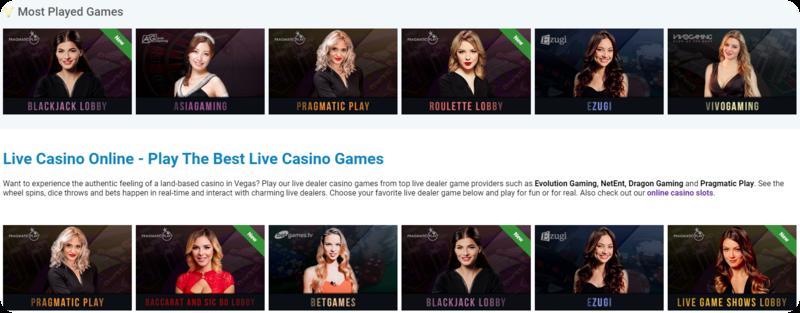 Vegaz Live Casino