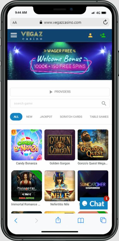 Vegaz casino mobile