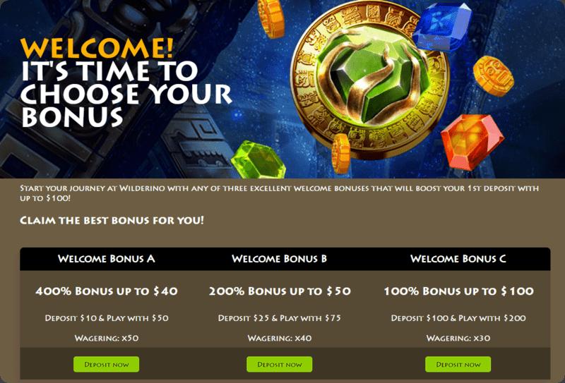 Wilderino casino NZ min 10 first deposit bonus