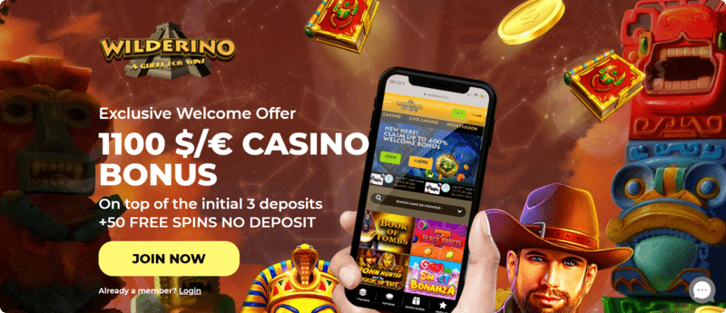 Wilderino casino NZ real money welcome bonus free spins no deposit