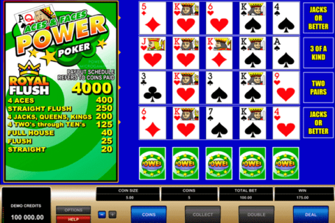 Play Aces and Faces Video Poker slot