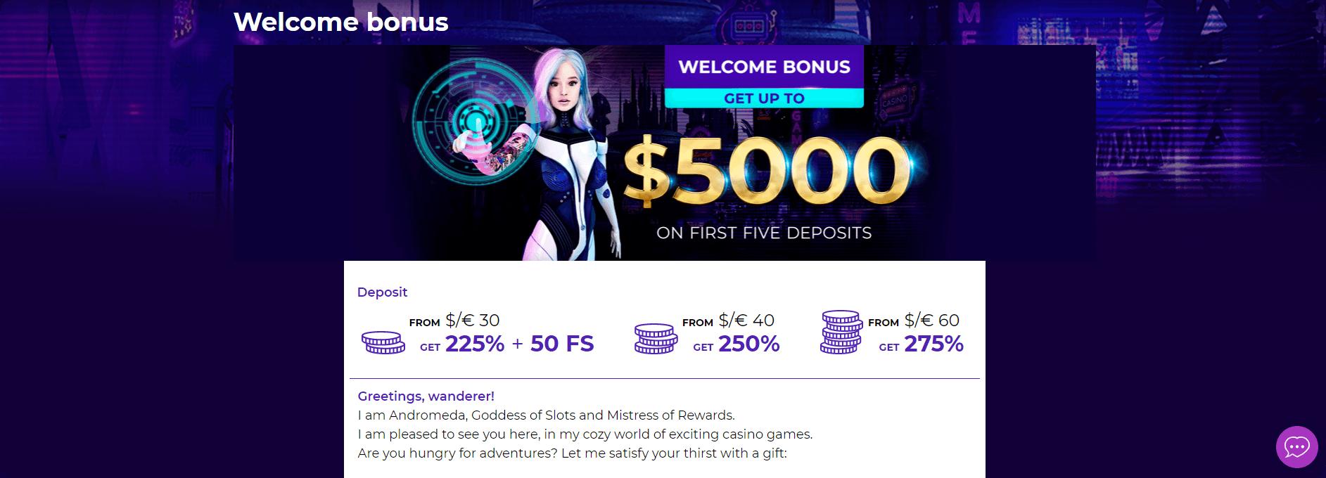 andromeda welcome bonus package