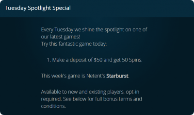 Tuesday Spotlight Special casinoland