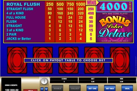 Play BONUS POKER DELUXE slot