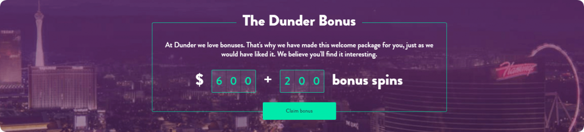 dunder welcome bonus package