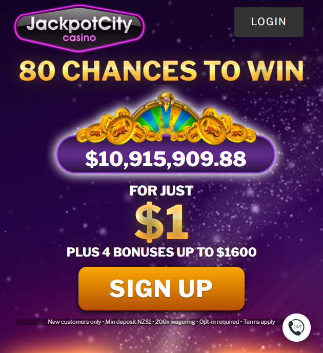 JackpotCity 1 dollar welcome bonus