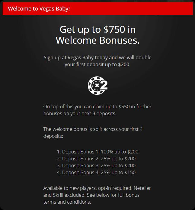 Vegas baby welcome bonus offer