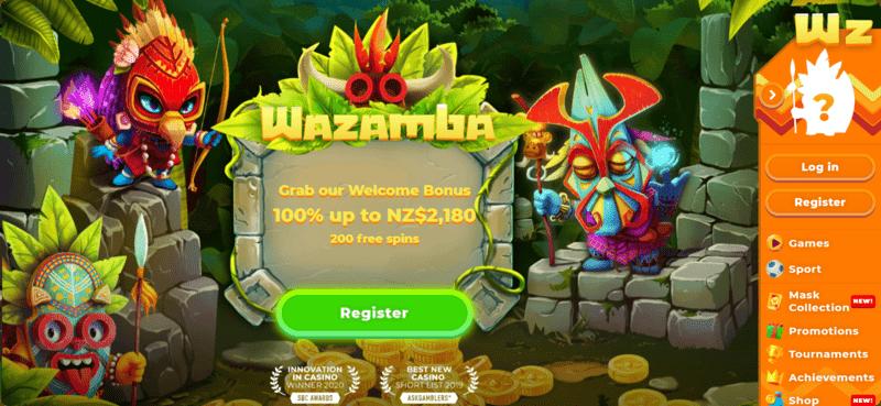 wazamba casino site home page