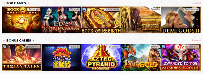 Games offered for Lady Linda Slots welcome Bonus